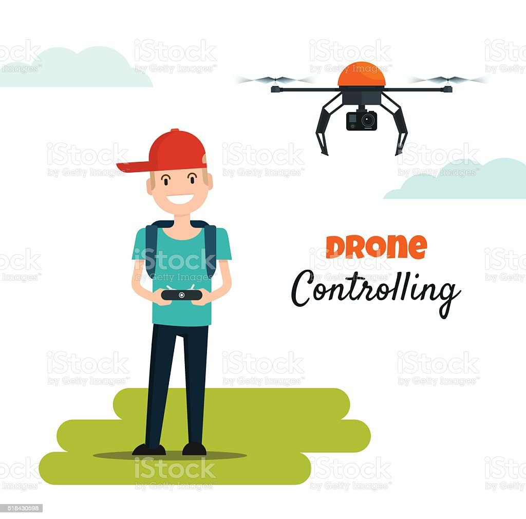 Happy Boy Playing With Flying Drone Camera Royalty Free Stock Vector Art