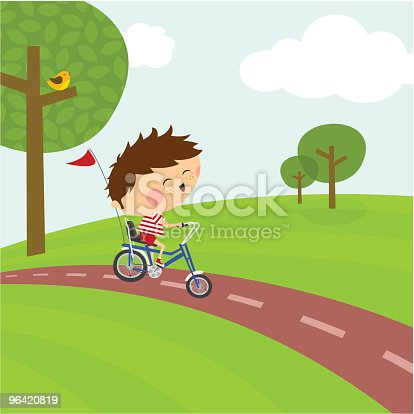 istock Happy boy riding a bicycle. Cycle path and nature 96420819
