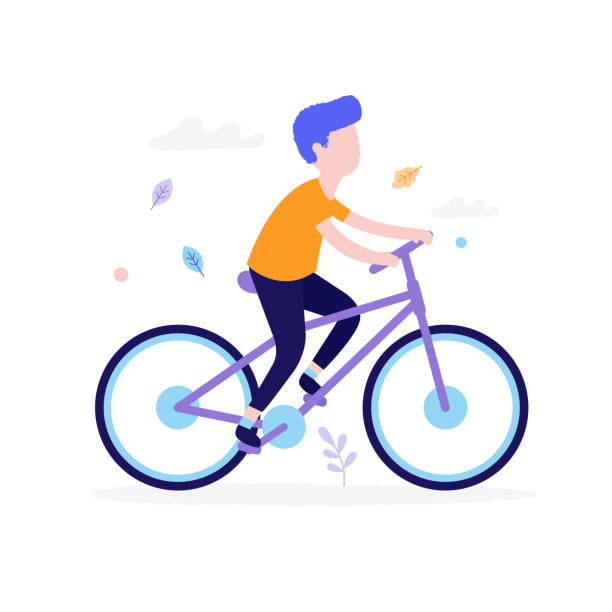 Happy boy riding bicycle outdoors in the park isolated on white background. Children activity concept, summer flat illustration with grass, clouds and leaves around vector art illustration
