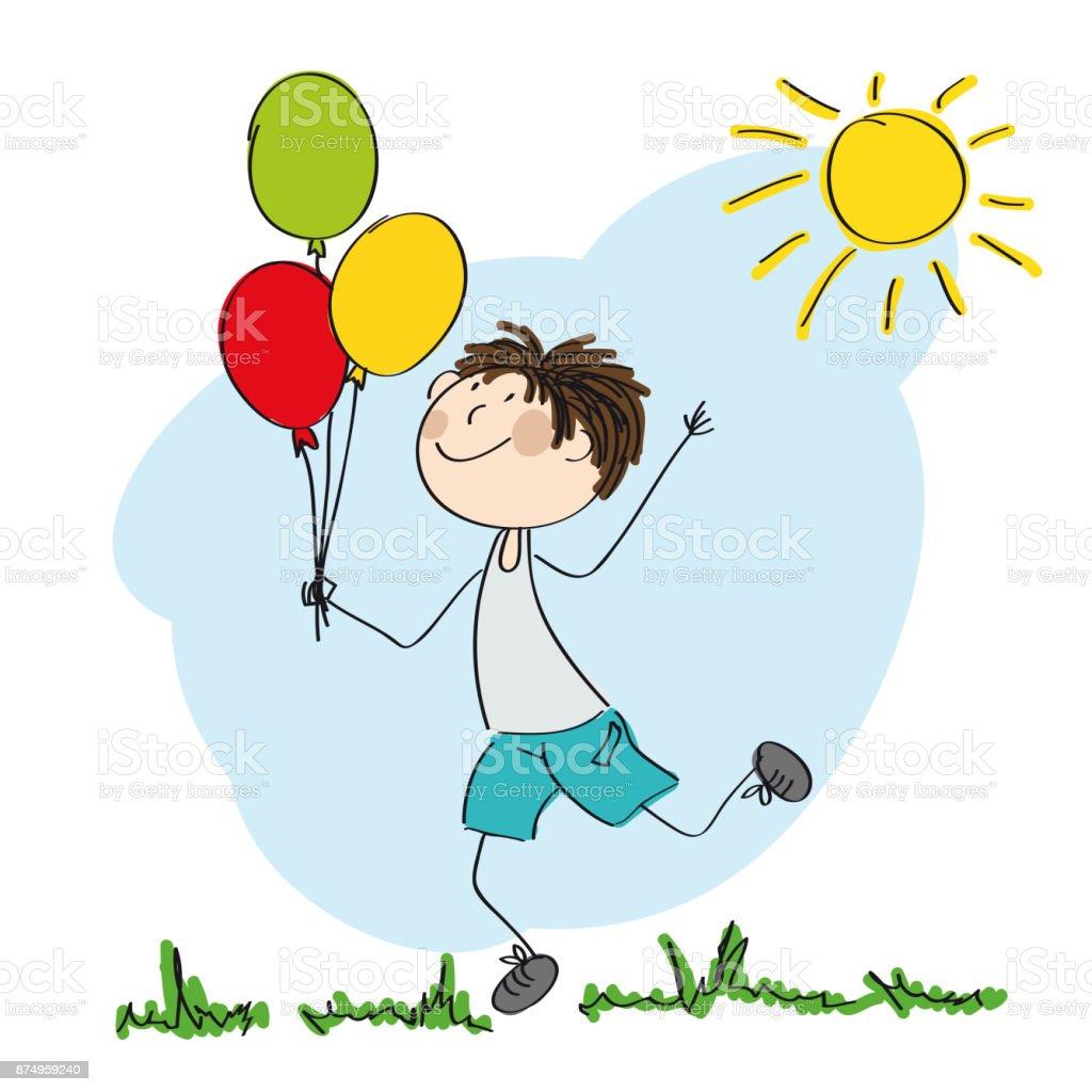 çalışan Ve Renkli Balonlar Elinde Orijinal Tutan Mutlu çocuk El