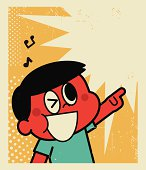 Vector illustration – Happy Boy Singing and Pointing at Something!