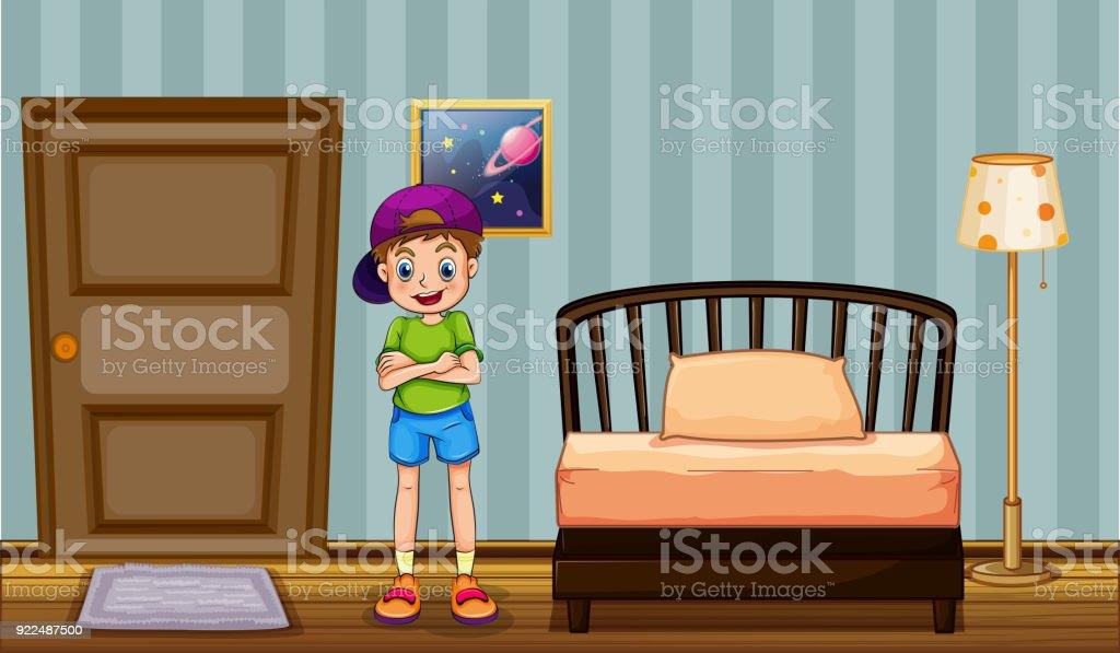 Frohlicher Junge Stehend Im Schlafzimmer Stock Vektor Art Und Mehr