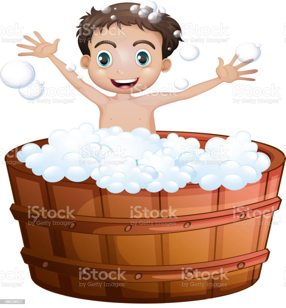 Happy boy taking a bath royalty-free happy boy taking a bath stock vector art & more images of adult