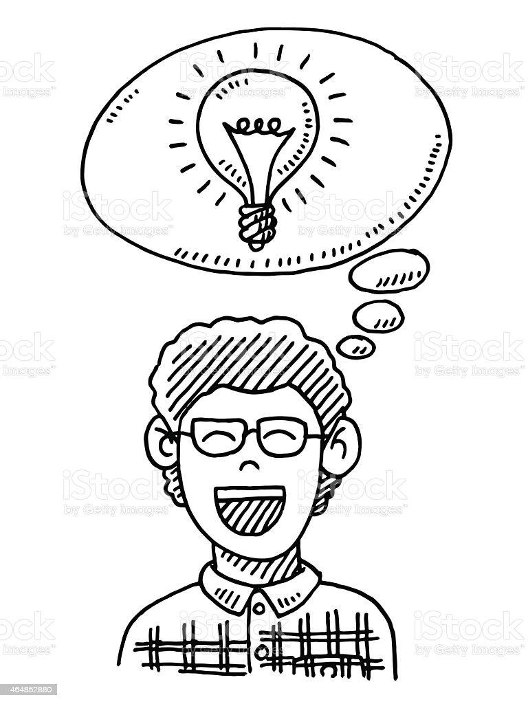 Happy Boy Thinking Lightbulb Drawing vector art illustration