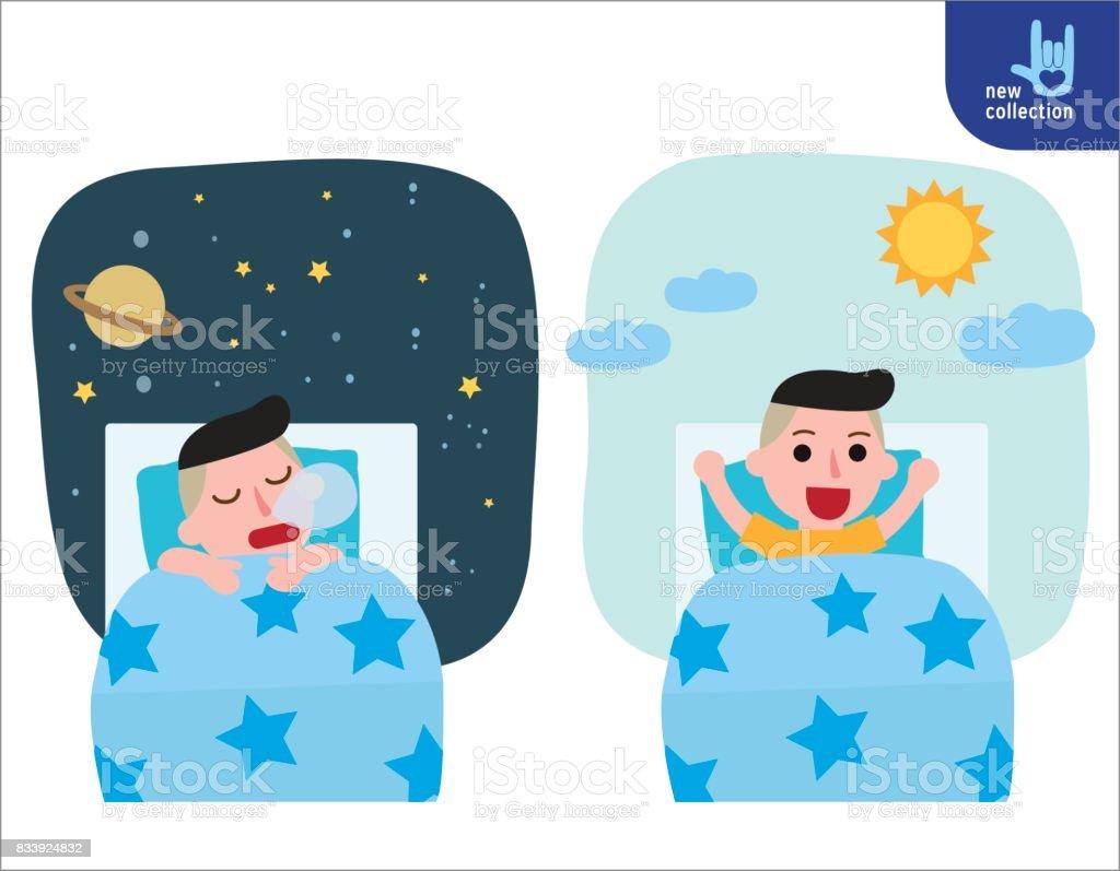 Fröhlicher Junge Aufwachen Auf Dem Stretching Bett Und