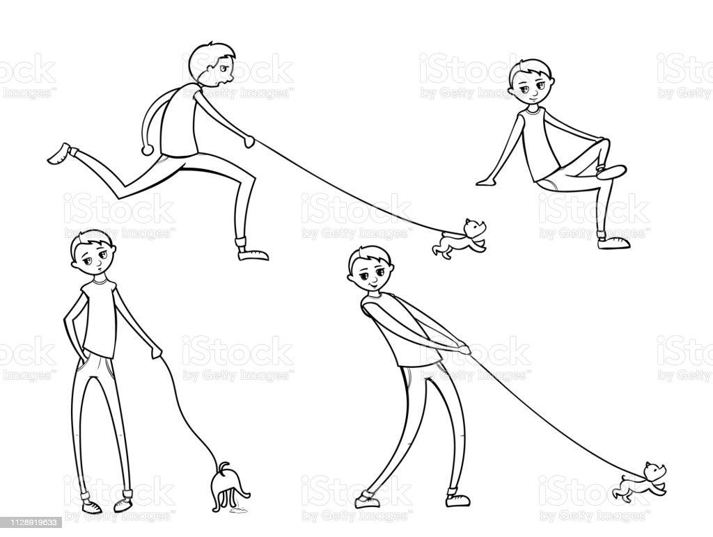 Mutlu Cocuk Ile Komik Kopek Yuruyus Illustrasyon Karikatur Tarzi
