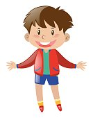 Happy boy wearing red jacket