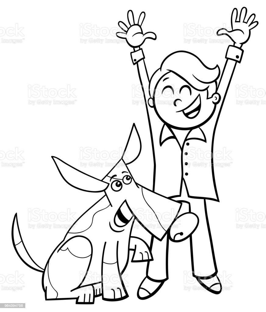 garoto feliz com desenho de cachorro, livro para colorir - Vetor de Amizade royalty-free