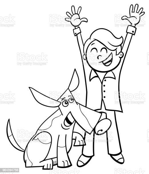 Vetores de Garoto Feliz Com Desenho De Cachorro Livro Para Colorir e mais imagens de Amizade