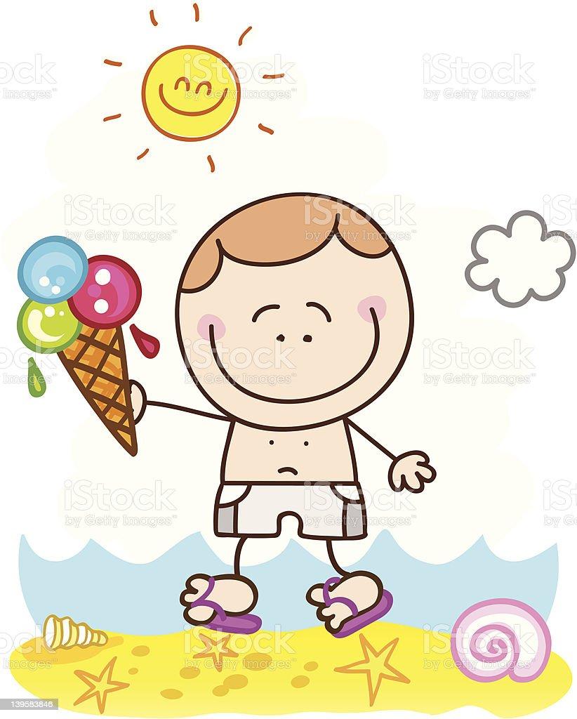 Garçon Heureux Avec Illustration De Dessin Animé Glace à La