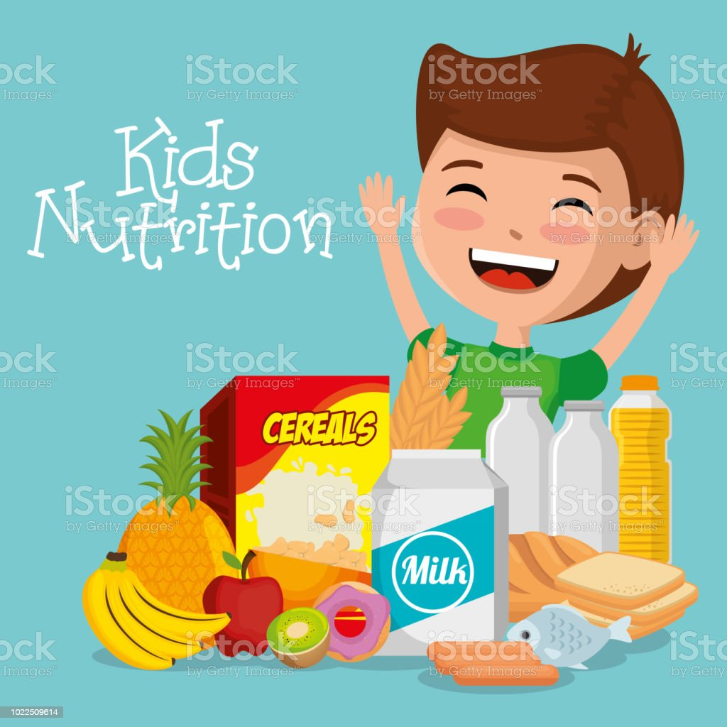 happy boy with nutrition food vector art illustration