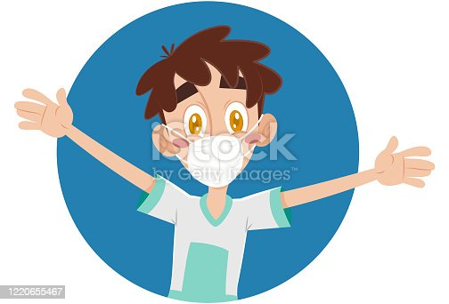 istock Happy boy with open arms protected with mask 1220655467