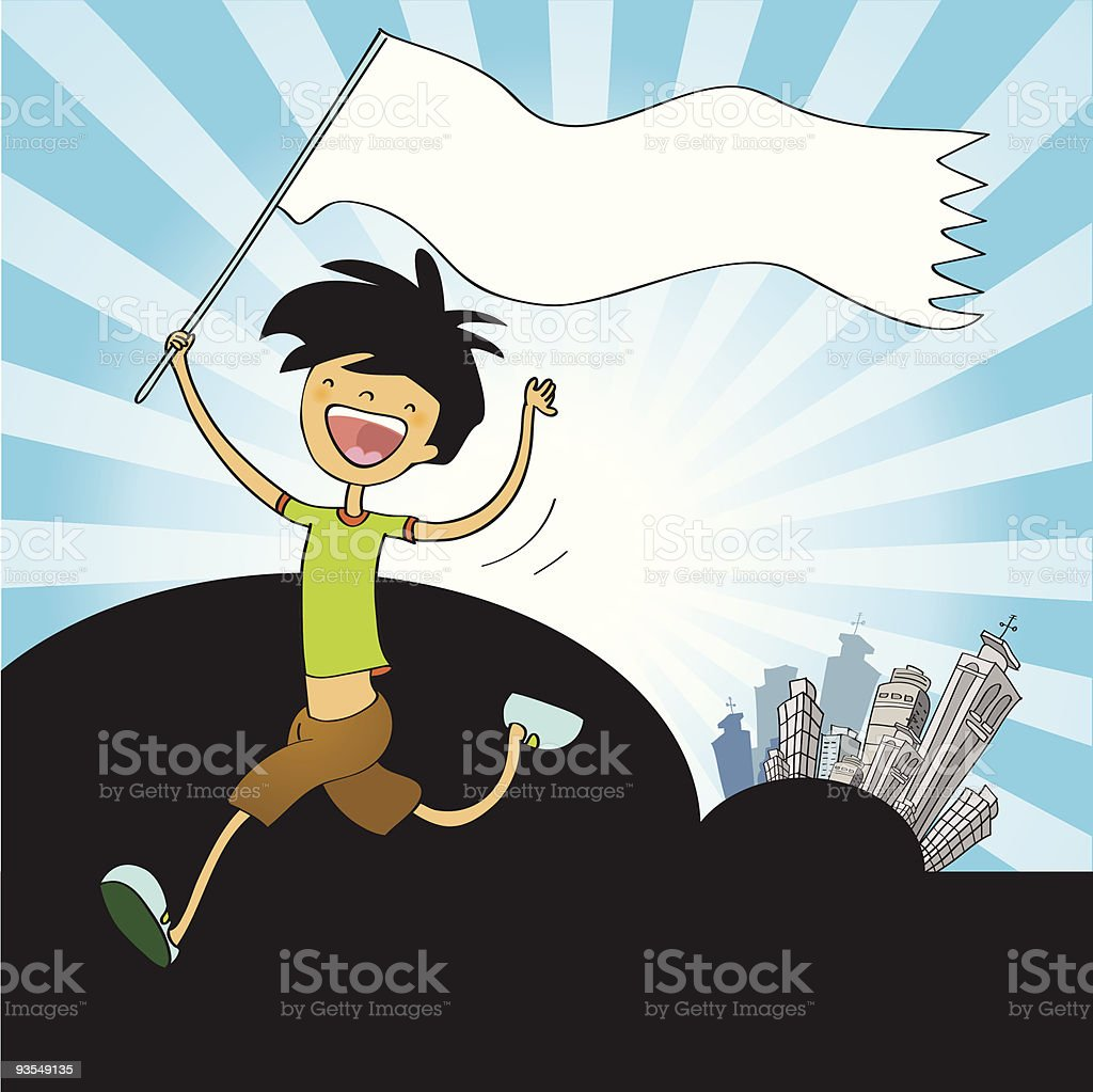 happy boy with white flag royalty-free stock vector art