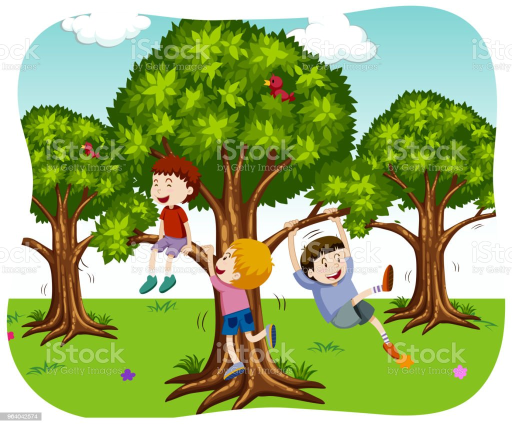 Happy Boys Playing in Nature - Royalty-free Adult stock vector