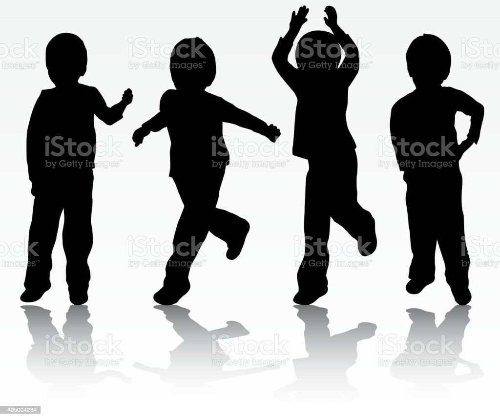 Happy boys silhouettes vector art illustration