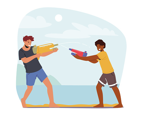 Happy Boys Summer Game, Teens Playing, Shooting with Water Guns in Hot Weather. Children Friends Characters Splashing
