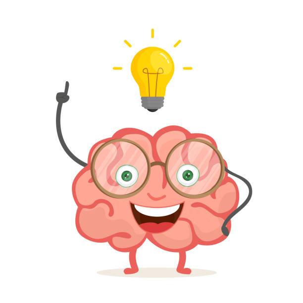 Happy brain cartoon character with idea. Vector illustration isolated on white background. EPS 10. vector art illustration