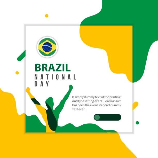 stockillustraties, clipart, cartoons en iconen met gelukkig brazilië nationale feestdag vectorillustratie template design - indonesische vlag