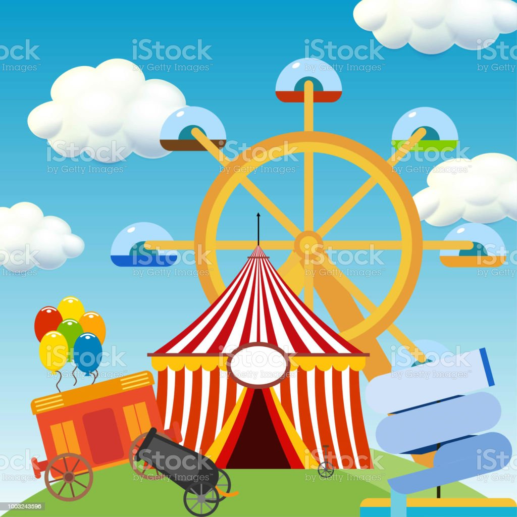 Happy Brazilian Carnival Day. Beautiful Circus scene with circus elements vector art illustration