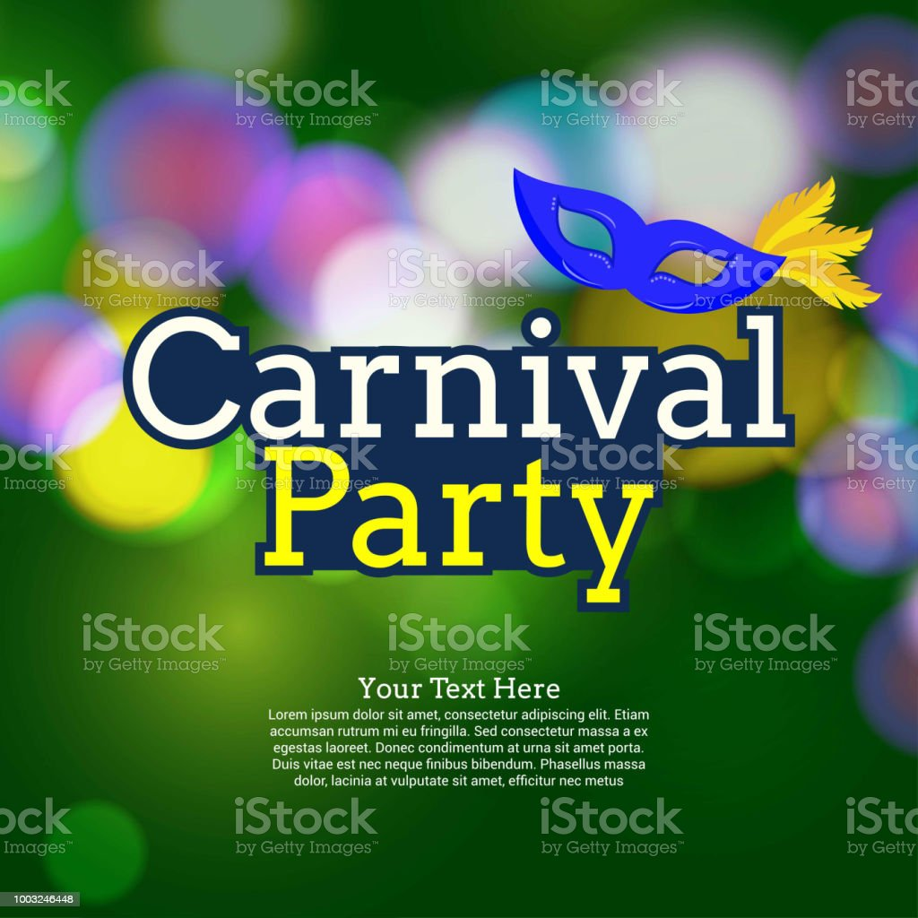Happy Brazilian Carnival Day. creative typography of carnival with sample text and mask on green blurred light background vector art illustration