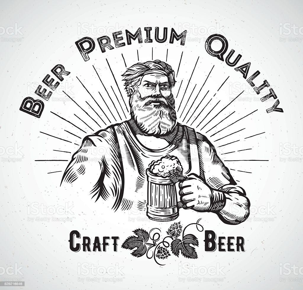 Happy Brewer. vector art illustration
