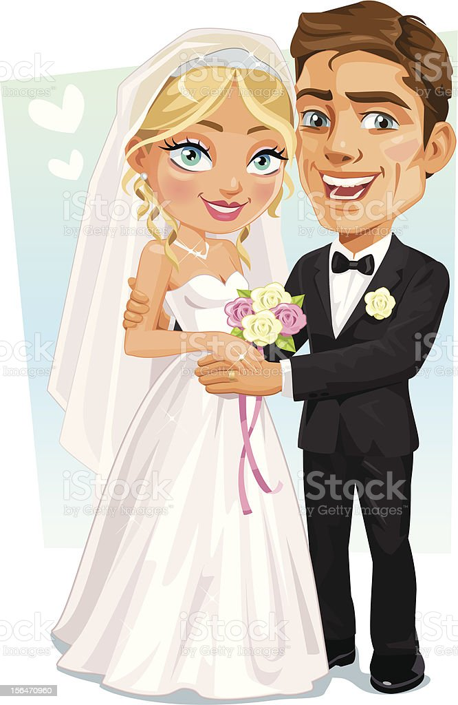 Happy Bridal Couple - Bride And Groom smiling holding hands vector art illustration