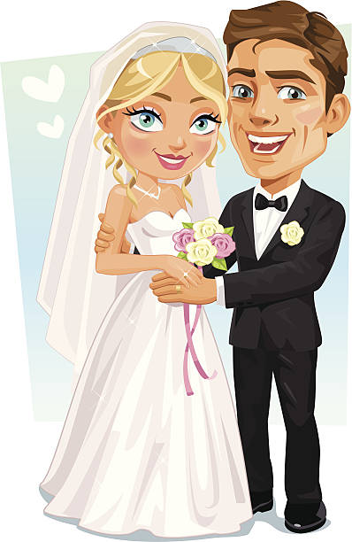 Happy Bridal Couple - Bride And Groom smiling holding hands EPS8 file, No effects, simple gradients. young couple stock illustrations