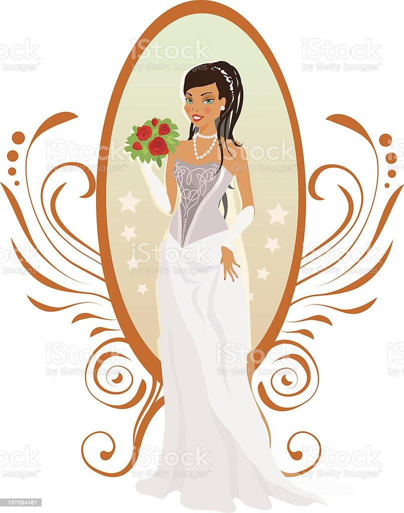 Happy bride in autumn colors royalty-free stock vector art
