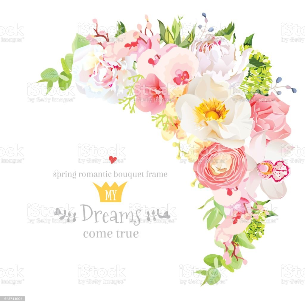 Happy bright floral vector frame with spring flowers stok vektr happy bright floral vector frame with spring flowers royalty free happy bright floral vector mightylinksfo