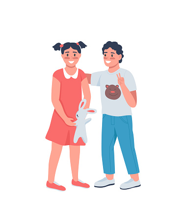 Happy brother and sister flat color vector detailed character