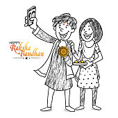 Time to take selfie, black and white sketch of happy brother and sister while celebrating of Raksha Bandhan festival.