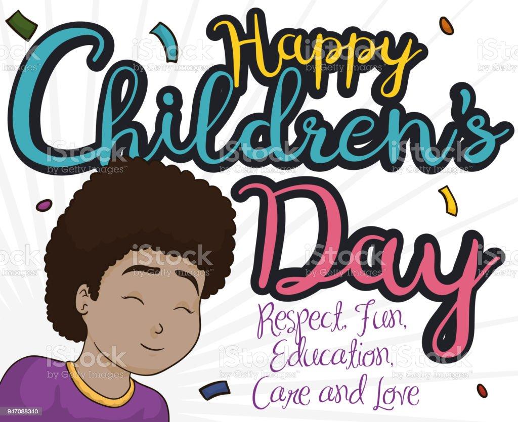 Happy Brunette Girl Celebrating Children Day With Confetti Shower
