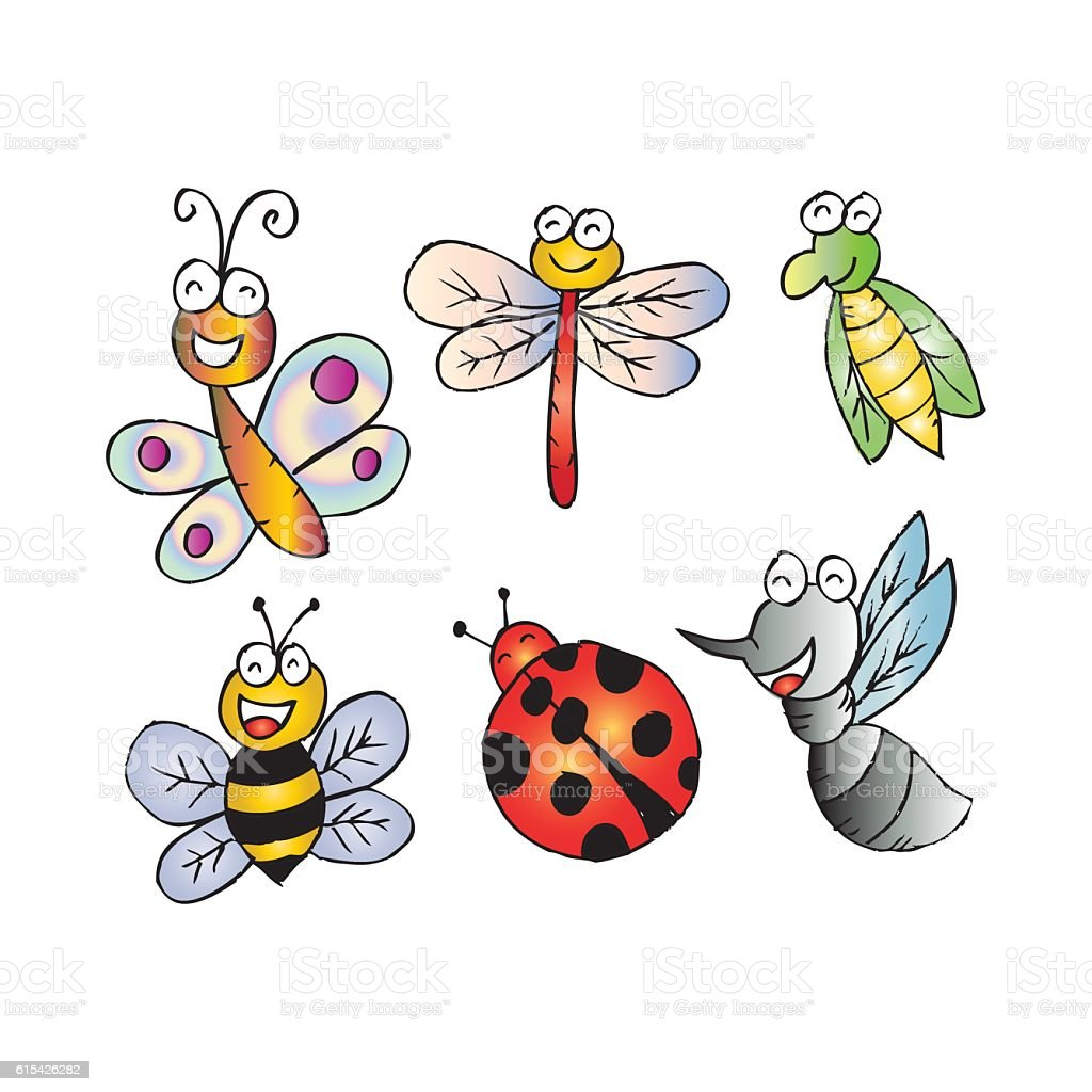 happy bugs and insects character icons cartoon style stock vector