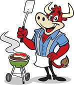 Great illustration of a bull cooking at a BBQ. Perfect for a cooking or summer illustration. EPS and JPEG files included. Be sure to view my other illustrations, thanks!