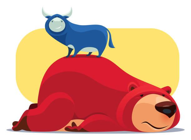 illustrazioni stock, clip art, cartoni animati e icone di tendenza di happy bull standing on sad bear - china drug