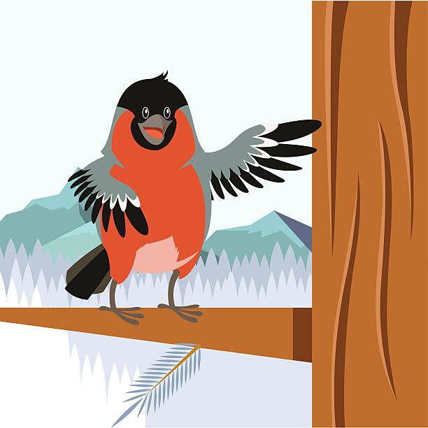 happy bullfinch on the tree winter flat background - dompfaff stock-grafiken, -clipart, -cartoons und -symbole