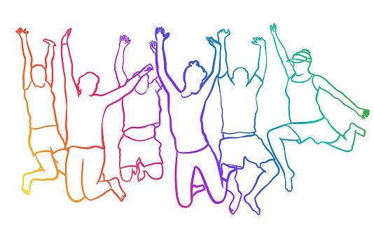 Happy Bunch Jump Rainbow