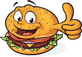 Vector Illustration of a happy, smiling, fast food burger mascot giving an enthusiastic thumbs up. File saved in layers for easy editing. Arm is on separate layer and can be easily removed.
