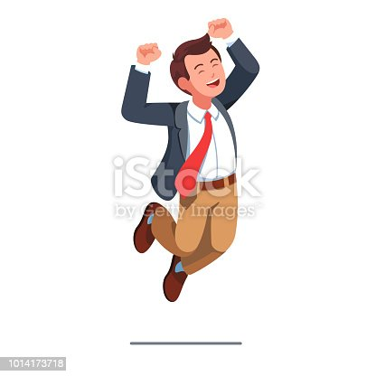 Business man jumping celebrating success with rising up arms with clenched fists winner gesture. Business person with smiling face wearing red necktie & jacket. Flat style isolated vector illustration