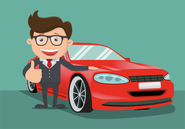 Happy business man  next to the red car. Vector illustration. Happy business man  next to the red car. Vector illustration. car salesperson stock illustrations