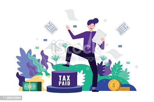 Tax time concept. Flat design element. Vector illustration.