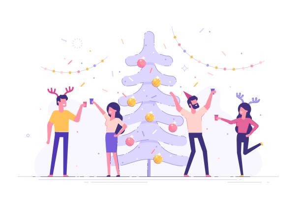 glücklich geschäftsleute an ein weihnachts- und neujahrs firmenfeier. positive männer und frauen mit champagner tanzen und spaß haben. moderne vektor zeichensatz. - firmenweihnachtsfeier stock-grafiken, -clipart, -cartoons und -symbole