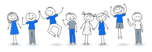 행복 한 비즈니스 사람들이 그들의 성공을 축 하 - 스틱피겨 stock illustrations