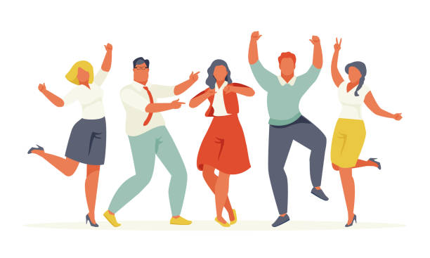 Happy business people on white background Jumping joyful business people isolated on white background. Vector illustration retro style colleague stock illustrations