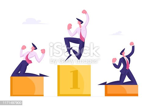 Happy Business People Stand on Winners Pedestal with Hands Up Crying Yeah, Cheerful Men Workers with Most Great Result Best Employee Managers Celebrate Successful Deal Cartoon Flat Vector Illustration