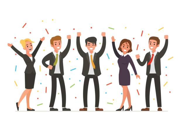 happy business people Happy Business people colleague stock illustrations