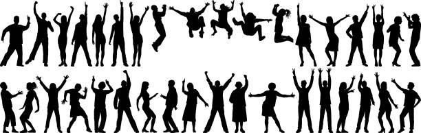 glücklich business personen - arme hoch stock-grafiken, -clipart, -cartoons und -symbole
