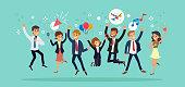 Happy business team jumping. Karaoke party celebration concept vector cartoon illustration.