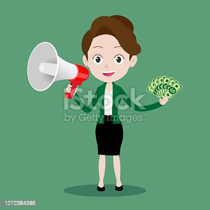 Happy business woman holding a megaphone and showing money dollar banknotes, Cartoon vector illustration