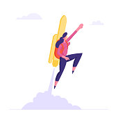 Happy Business Woman or Manager Fly on Jetpack to Goal Achievement. Girl with Rocket on Back Reach New Level of Development, Career Boost, Working Success, Investments Cartoon Flat Vector Illustration